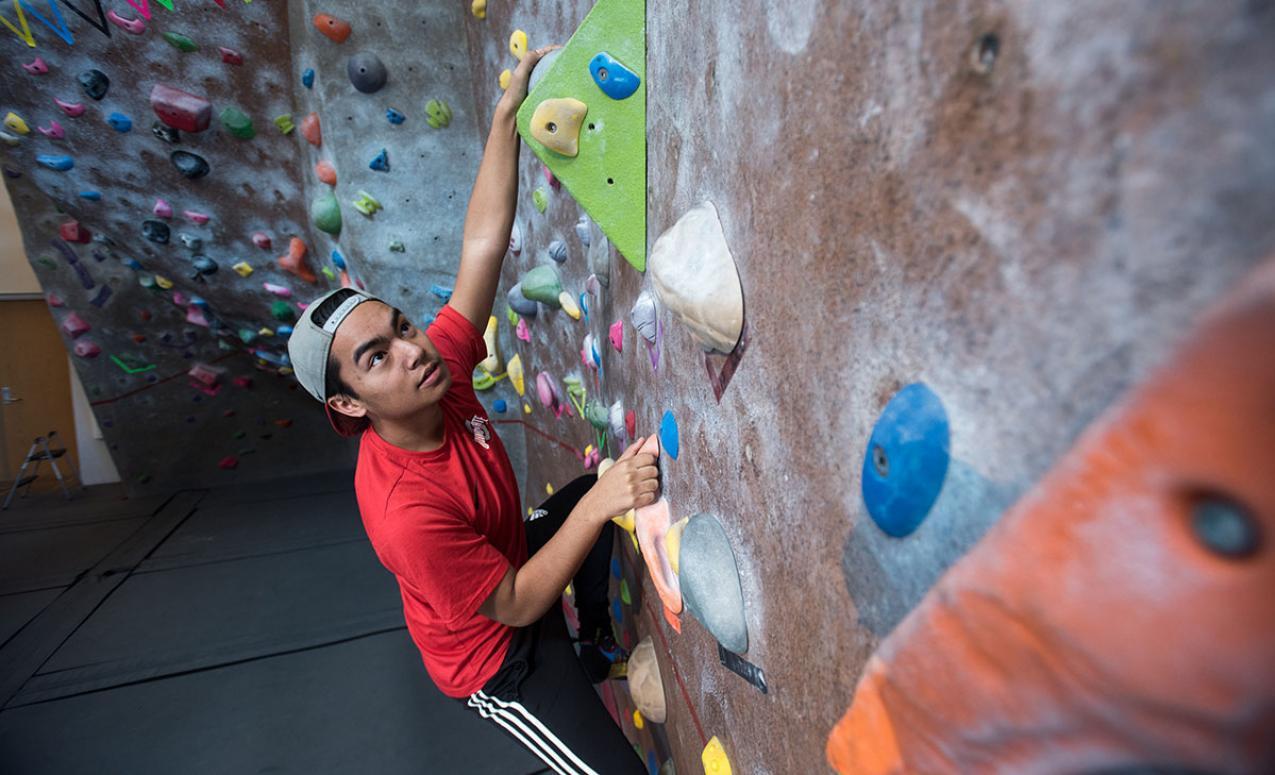 Climbing wall at the Adventure Recreation Center