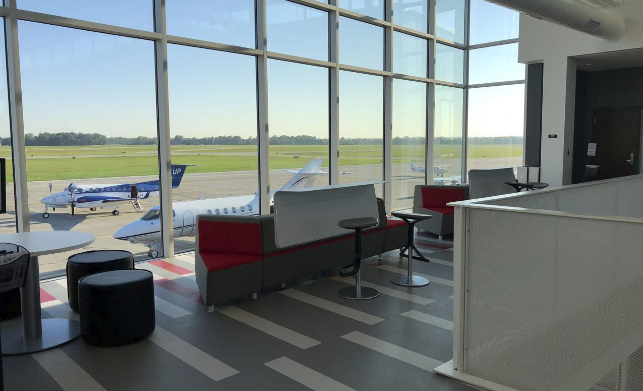 A waiting room at The Ohio State University airport