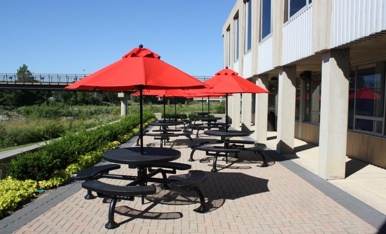 Picnic area outside the Drake Performing Arts Center