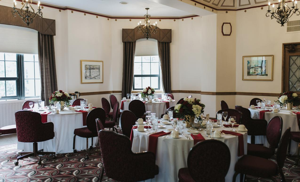Faculty club prepared for an event