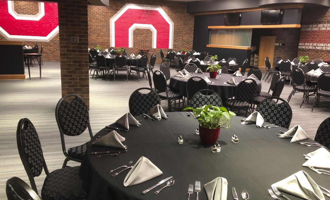 Fawcett Center meeting room decorated for an event
