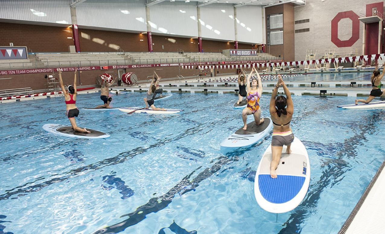 Paddleboard yoga class at the McCorkle Aquatic Pavilion