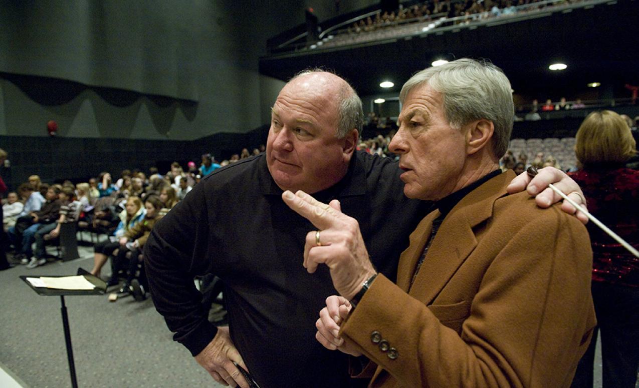 View of directors at Mershon auditorium practice