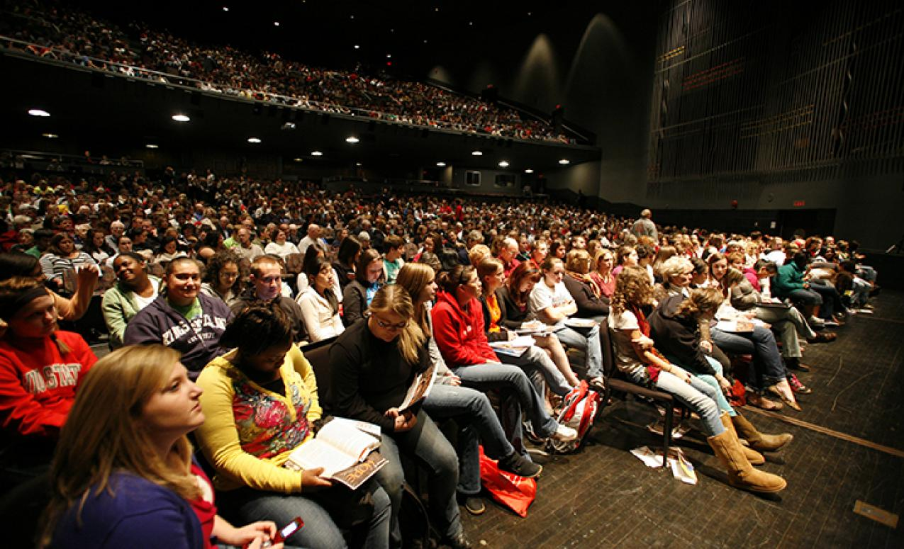View of the audience seated in Mershon Auditorium