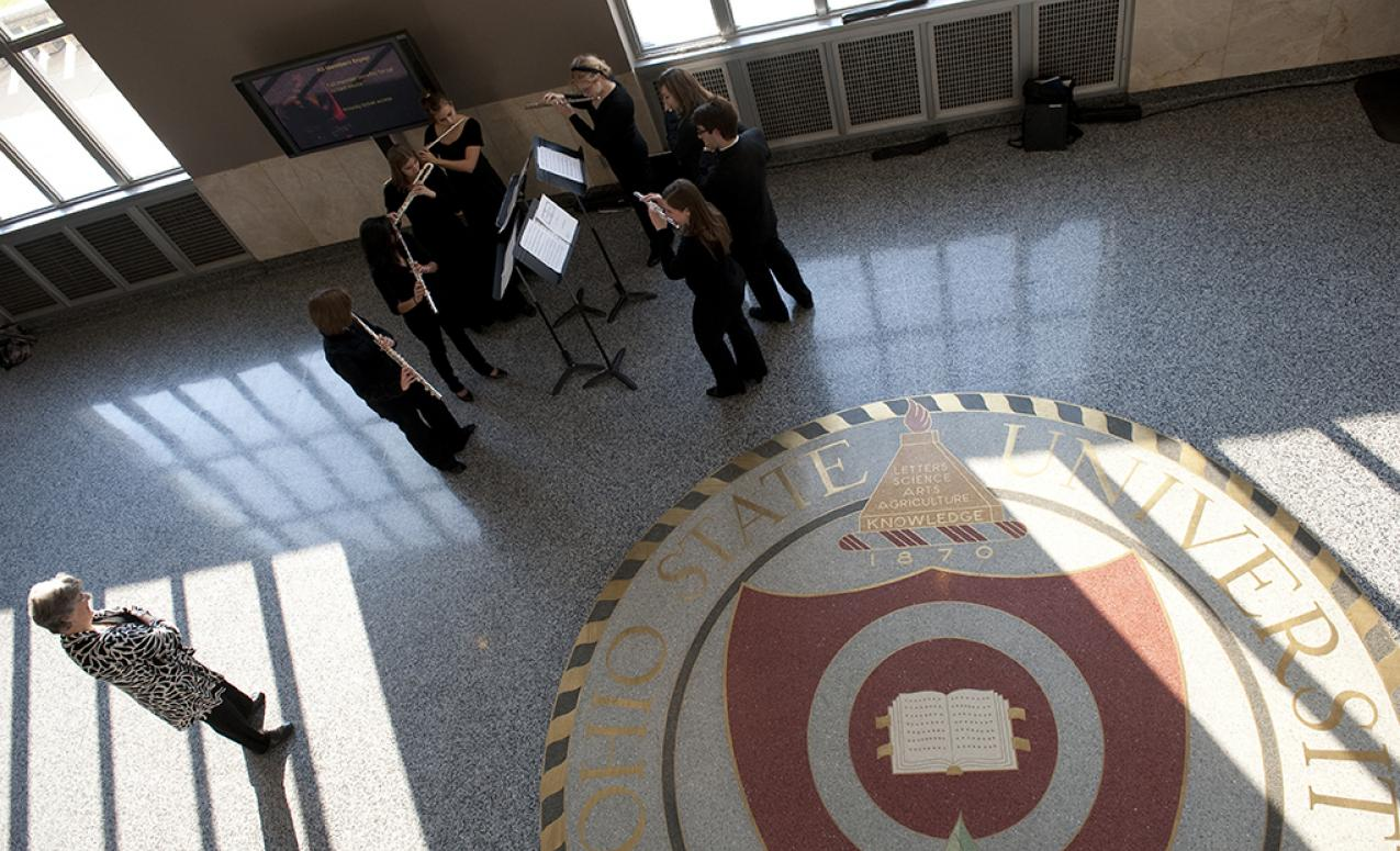 Lobby of Mershon Auditorium showing the university seal