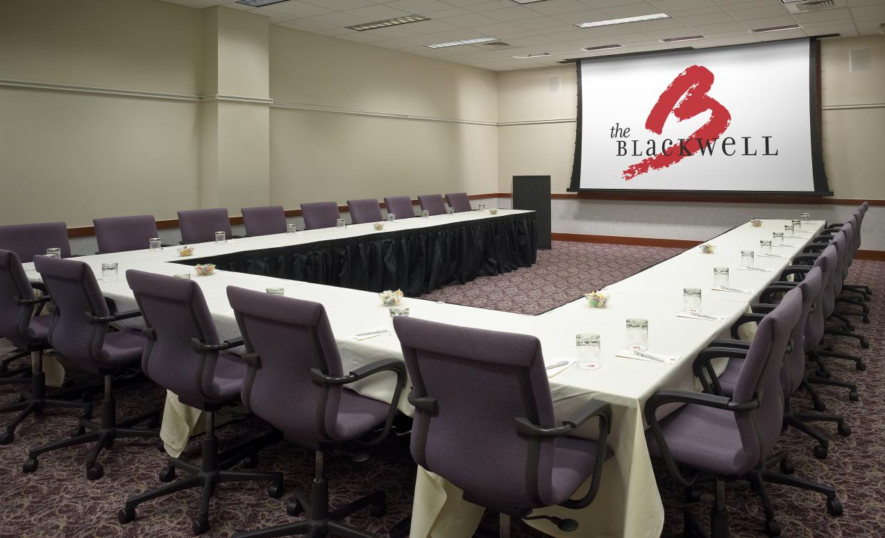 A conference room at the Blackwell Inn and Pfahl Conference Center