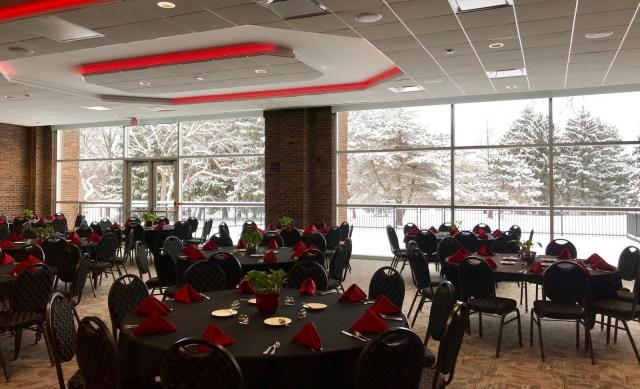 Fawcett center room decorated for an event in winter